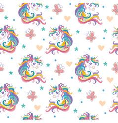 Magic seamless pattern with unicorn butterflies vector