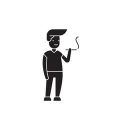 man smoking black concept icon man smoking vector image