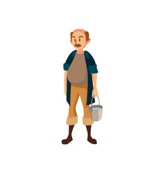 Mature male farmer standing with bucket gardener vector