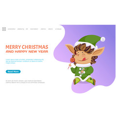 Merry christmas and happy new year elf with candy vector