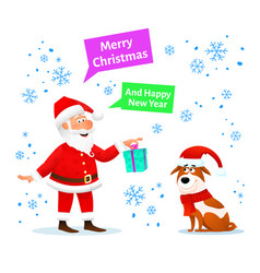 merry christmas card santa claus with gift and dog vector image