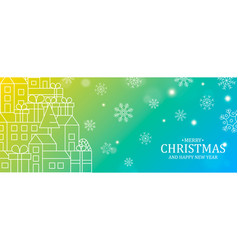 merry christmas happy new year city with pine vector image