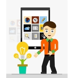 Mobile app startup idea Young businessman showing vector