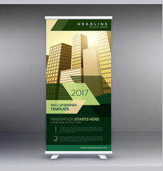 Modern business roll up banner or standee design vector