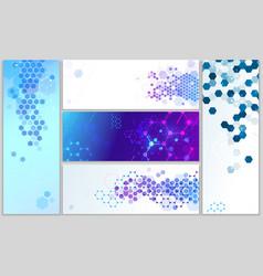 molecular structure banners abstract hexagonal vector image