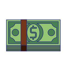 Money cash billets symbol isolated blue lines vector