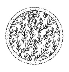 Monochrome round frame with pattern of branches vector
