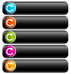 Oblong blank buttons with circular arrow in 5 vector