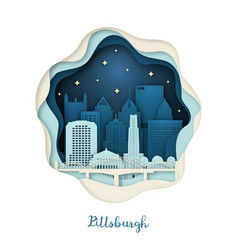paper art pittsburgh origami concept night vector image