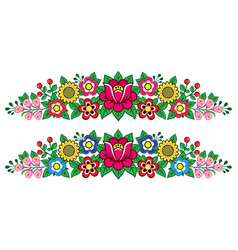 polish folk art floral long decoration vector image