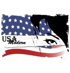 Pretty woman with american flag vector image