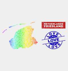 Rainbow colored tools friesland province map and vector