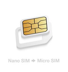 Realistic nano to micro sim card adapter phone vector