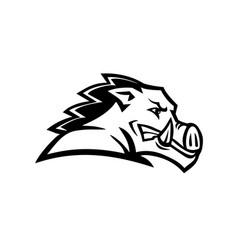 red wild boar or razorback head side view mascot vector image
