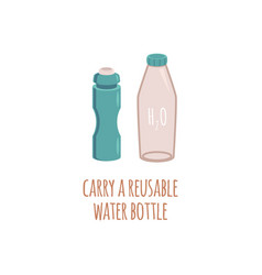 Reusable two water eco bottles in flat style with vector