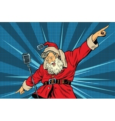 Santa Claus superstar singer on stage vector