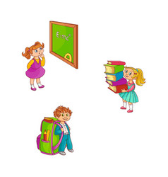 school children with study supplies collection vector image