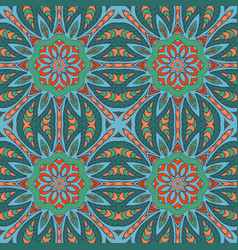 seamless doodle drawing colorful floral ornament vector image