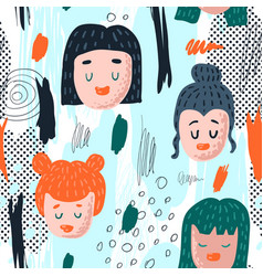 Seamless pattern with funny girl faces vector