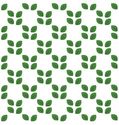 seamless white pattern with green leaves vector image
