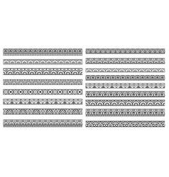 set decorative seamless ornamental border vector image