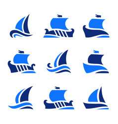 set icons historic greek sailboats in sea vector image