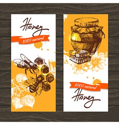 Set of honey banners with hand drawn sketch vector