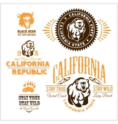 Set of stylish retro badges with bears vector
