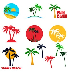 set palm island labels and emblems vector image
