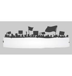 silhouette cheering or protesting crowd vector image