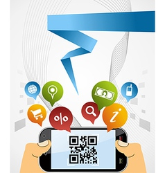 Smart Phone QR code application background vector image