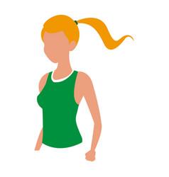 Sport blonde girl fitness design vector