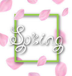 Spring lettering border frame calligraphic text vector