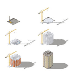 Stages construction a high-rise building vector