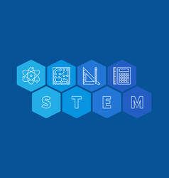 Stem concept banner blue hexagonal vector