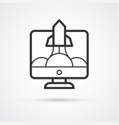 successful startup flat line trendy black icon vector image