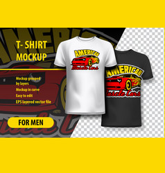T-shirt mockup with american muscle cars phrase vector