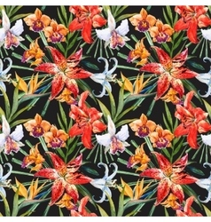 tropical watercolor lilly pattern vector image