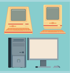 Vintage personal computers set vector