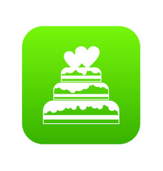 wedding cake icon digital green vector image