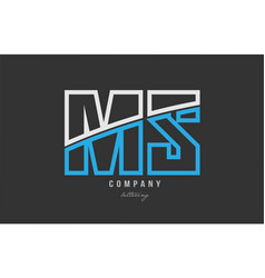 White blue alphabet letter ms m s logo icon design vector