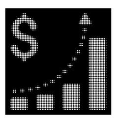 white halftone business bar chart positive trend vector image