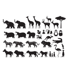 wild animals silhouette set vector image