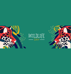 Wildlife day web banner leopard in jungle vector