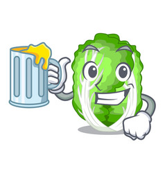 With juice cartoon fresh chinese cabbage vegetable vector