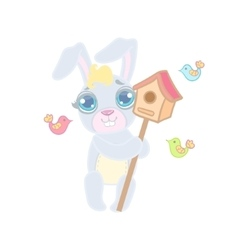 Bunny With The Bird House vector image vector image