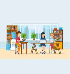 girls working at computer with office interior vector image