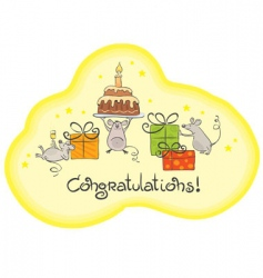 mouse celebrate card vector image