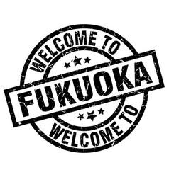 Welcome to fukuoka black stamp vector