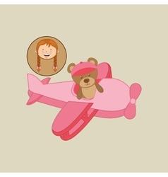 beautiful girl smiling pink plane vector image